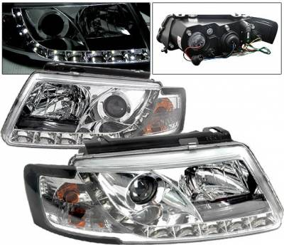 4 Car Option - Volkswagen Passat 4 Car Option Projector Headlights - R8 DRL - Chrome - LP-VP97CDR-YD