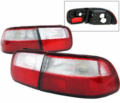 4 Car Option - Honda Civic 2DR & 4DR 4 Car Option Taillights - Red & Clear - LT-1J-HC92-1