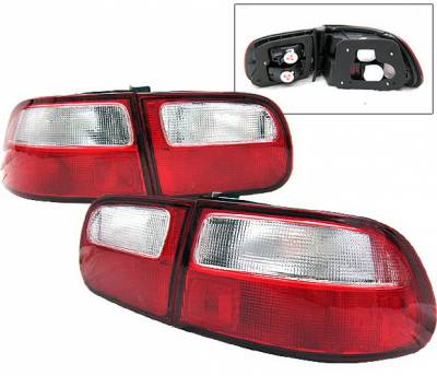 4 Car Option - Honda Civic HB 4 Car Option Taillights - Red & Clear - LT-1J-HC92-2