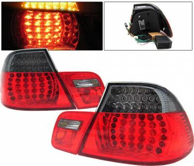 4 Car Option - BMW 3 Series 2DR 4 Car Option LED Taillights - Red & Smoke - 4PC - LT-B462RSM-KS