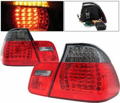 4 Car Option - BMW 3 Series 4DR 4 Car Option LED Taillights - Red & Smoke - 4PC - LT-B46402LEDRSM-KS