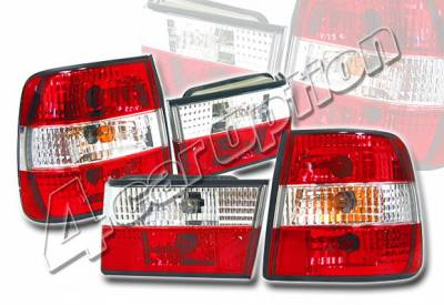 4 Car Option - BMW 5 Series 4 Car Option Euro Taillights - Red & Clear - LT-BE3488R-KS