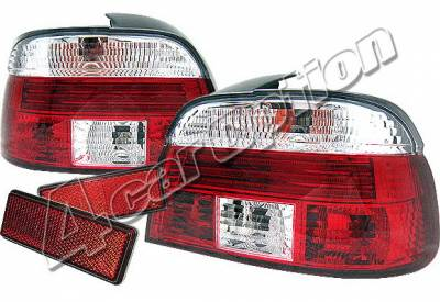 4 Car Option - BMW 5 Series 4 Car Option Taillights - Red & Clear - LT-BE39RC-KS