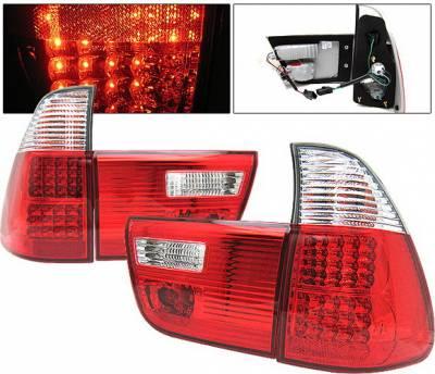 4 Car Option - BMW X5 4 Car Option LED Taillights - Red & Clear - LT-BE5300LEDRC-KS