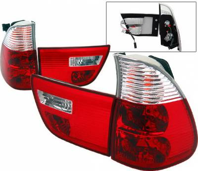 4 Car Option - BMW X5 4 Car Option Euro Taillights - Red & Clear - LT-BE5300RC-9