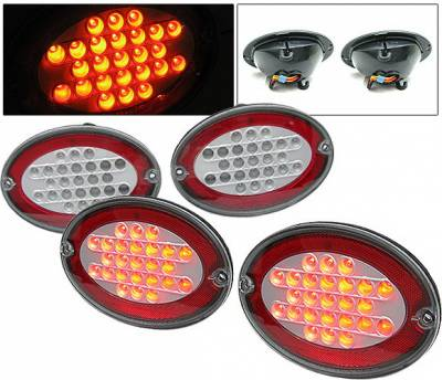 4 Car Option - Chevrolet Corvette 4 Car Option LED Taillights - Red & Clear - LT-CCVET97LEDRC-DP
