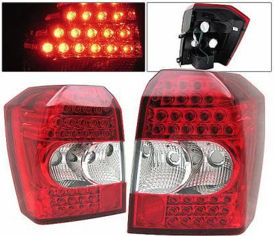 4 Car Option - Dodge Caliber 4 Car Option LED Taillights - Red & Clear - LT-DCAB07LEDRC-KS