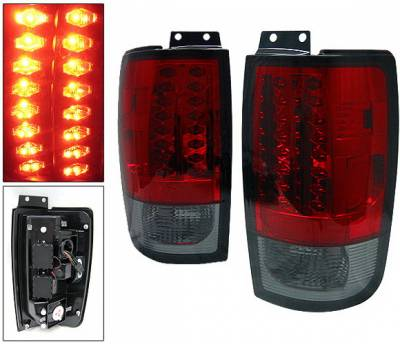 4 Car Option - Ford Expedition 4 Car Option LED Taillights - Red & Smoke - LT-FE97LEDRSM
