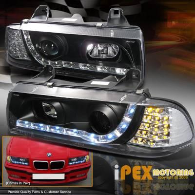 Custom - E36 92-98 2 Dr R8 LED Projector Headlights with LED Signal Lights