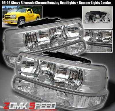 Custom - Chrome Housing Headlights With Bumper Lights