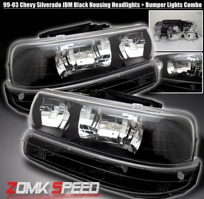 Custom - JDM Black Headlights With Bumper Lights