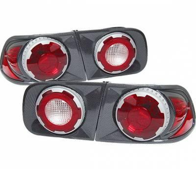 4 Car Option - Honda Civic 2DR & 4DR 4 Car Option 3D Retro Taillights - Carbon Fiber Style - LT-HC92DF-9