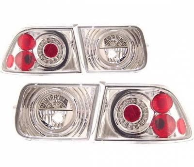 4 Car Option - Honda Civic 2DR 4 Car Option LED Taillights - G2 - Chrome - LT-HC962LEDC-KS