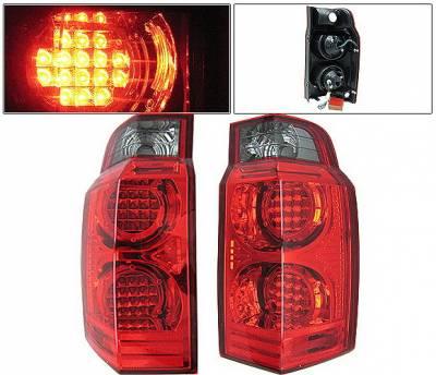 4 Car Option - Jeep Commander 4 Car Option LED Taillights - Red & Smoke - LT-JCM06LEDRSM-KS