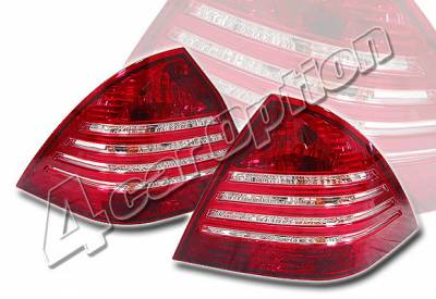 4 Car Option - Mercedes-Benz C Class 4 Car Option Taillights - Red & Clear - LT-MBZC01R-KS