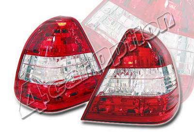 4 Car Option - Mercedes-Benz C Class 4 Car Option Taillights - Red & Clear - LT-MBZC96R-KS