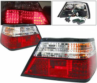 4 Car Option - Mercedes-Benz E Class 4 Car Option LED Taillights - Red & Clear - LT-MBZE85LED-KS