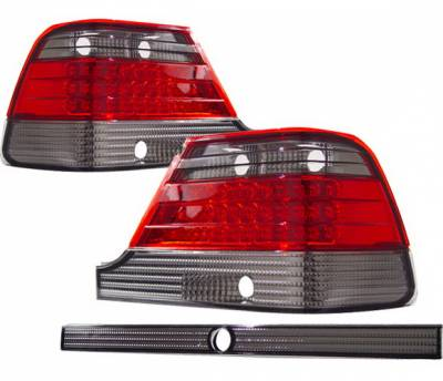 4 Car Option - Mercedes-Benz S Class 4 Car Option LED Taillights - Red & Smoke - LT-MBZW140LEDRSM-KS