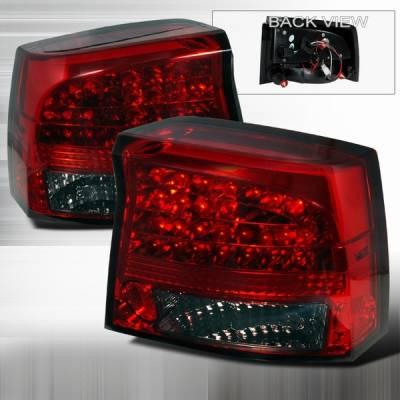 Custom Disco - Dodge Charger Custom Disco Red & Smoke Euro LED Taillights - LT-CHG05RGLED-YD