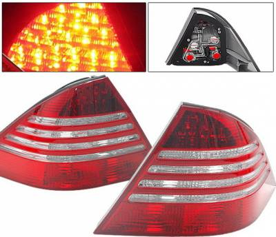 4 Car Option - Mercedes-Benz S Class 4 Car Option LED Taillights - Red & Clear - LT-MBZW220RC-DP