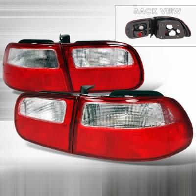 Custom Disco - Honda Civic Custom Disco Red & Clear Taillights - LT-CV923RPW-YD