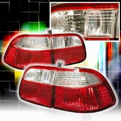 Custom Disco - Honda Civic Custom Disco Red & Clear Euro Taillights - LT-CV994RPW