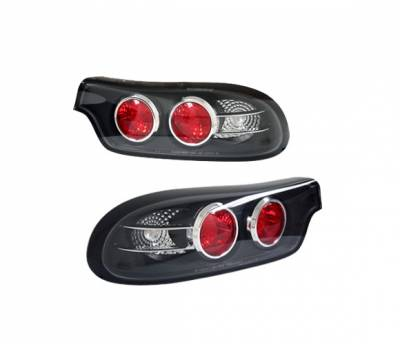 4 Car Option - Mazda RX-7 4 Car Option Altezza Taillights - Black - 3PC - LT-MRX7JB-YD