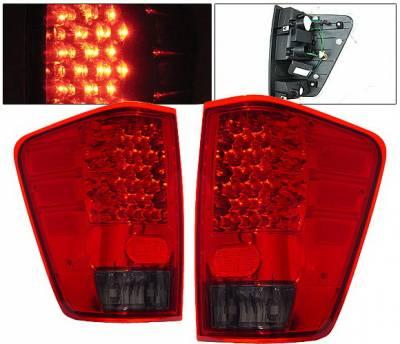 4 Car Option - Nissan Titan 4 Car Option LED Taillights - Red & Smoke - LT-NTIT04LEDRSM-KS