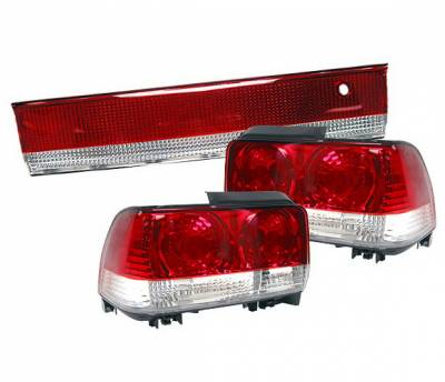 4 Car Option - Toyota Corolla 4 Car Option Taillights - Red & Clear - 3PC - LT-TCL93RC