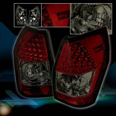 Custom Disco - Dodge Magnum Custom Disco Smoke Red & Clear LED Taillights - LT-MAG05RGLED