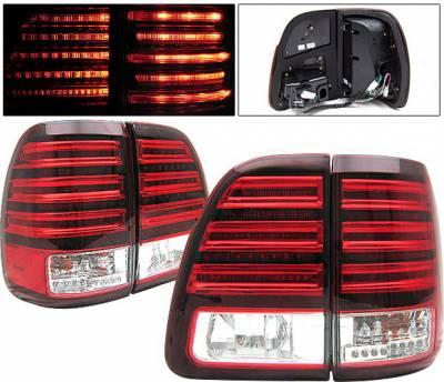 4 Car Option - Toyota Land Cruiser 4 Car Option LED Taillights - Red & Clear - LT-TLC98LEDRC-KS