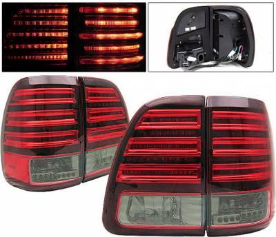 4 Car Option - Toyota Land Cruiser 4 Car Option LED Taillights - Red & Smoke - LT-TLC98LEDRSM-KS