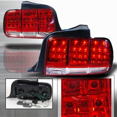 Custom Disco - Ford Mustang Custom Disco Red & Clear LED Taillights - LT-MUS05RLED-KS