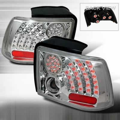 Custom Disco - Ford Mustang Custom Disco Chrome & Clear LED Taillights with Reflector - LT-MUS99CCLED-WJ