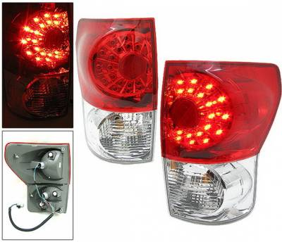 4 Car Option - Toyota Tundra 4 Car Option LED Taillights - Red & Clear - LT-TTUN07LEDRC-KS