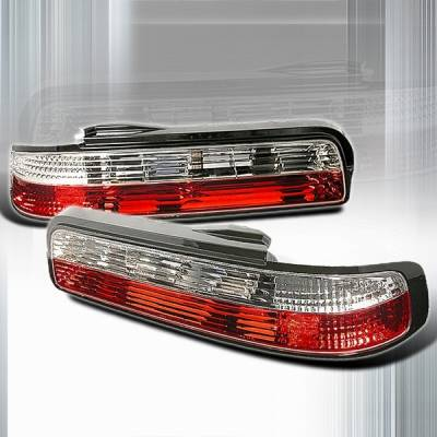 Custom Disco - Nissan 240SX Custom Disco Red & Clear Crystal Taillights - LT-S1389RPW3