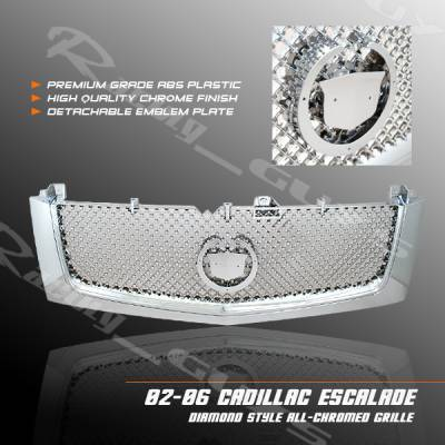 Custom - Chrome Front Grill Grille -  ABS Plastic