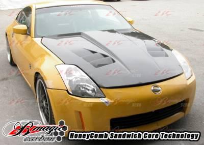 AIT Racing - Nissan 350Z AIT Racing R1 Style Carbon Fiber Hood - N3502BMR1SCFH