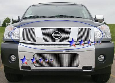 APS - Nissan Titan APS Billet Grille - with Logo Opening - Upper - Aluminum - N65412V