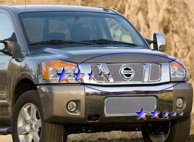 APS - Nissan Titan APS Wire Mesh Grille - with Logo Opening - Upper - Stainless Steel - N76506T