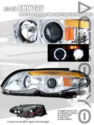 Custom - Chrome Halo Projector Headlights - Amber Reflector