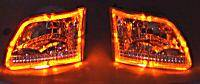 Custom - Diamond Cut Headlights With Amber LED Ring