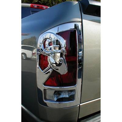 V-Tech - Dodge Ram V-Tech Taillight Covers - 3D Big Horns Style - Chrome - 1327704