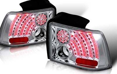 WinJet - Ford Mustang WinJet LED Taillight - Chrome & Clear - WJ20-0019-01