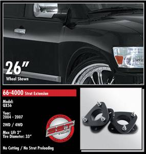ReadyLift - ReadyLift Strut Extension Suspension Leveling Kit - 2 Inch Lift 33 Inch Max Tire