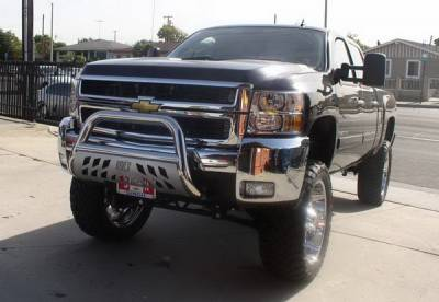 Aries - Chevrolet Silverado Aries Bull Bar with Stainless Skid - 3 Inch