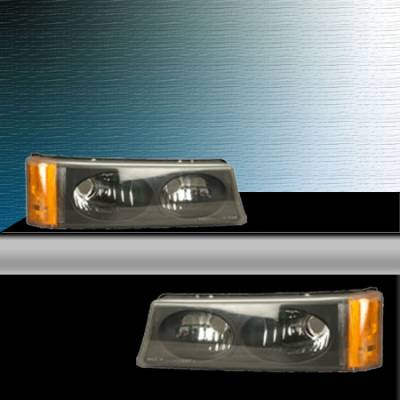 APC - Clear Silverado Parking Lights - Black Housing