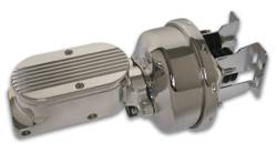 SSBC - SSBC Billet Aluminum Dual Bowl Master Cylinder - Finned Cap and 7 Inch Chrome Booster - A28136CB-2