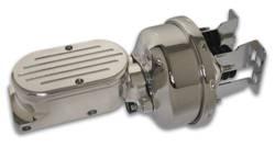 SSBC - SSBC Billet Aluminum Dual Bowl Master Cylinder - Ball Milled Cap and 7 Inch Chrome Booster - A28136CB-4