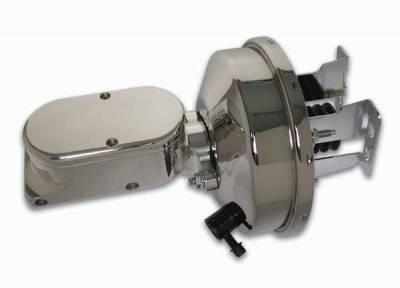 SSBC - SSBC Billet Aluminum Dual Bowl Master Cylinder - Plain Cap and 9 Inch Chrome Booster - A28138CB-1